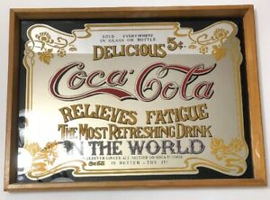 Vintage Coca Cola Mirror Sign Relieves Fatigue Coke Framed 16 X 12 Advertisement