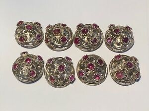 Sterling Silver And Cabochon Ruby Buttons Set Of Eight 8 Round 7 8 Diameter