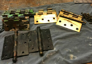 Lot Of 8 Vintage Brass Plated Door Hinges With Pins Screws