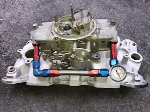 Holley 650 Cfm 4777 7 Carb Double Pumper With Edelbrock 2101 Intake Manifold