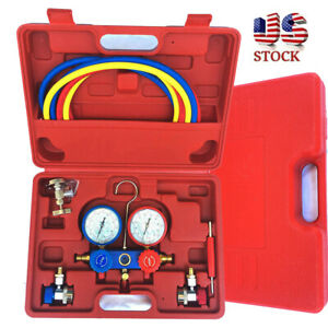 New Ac Manifold Gauge Set R134 134a R410a R404a W Hoses Coupler Adapters Us