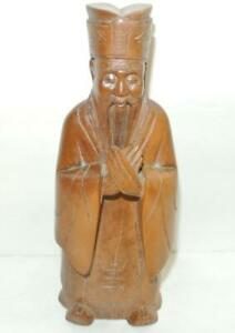 Vintage Detailed Solid Wood Carved Asian Japanese Chinese 8 Statue Figurine