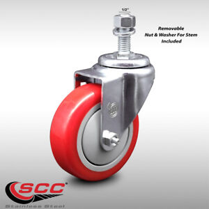 Ss Poly Swvl Threaded Stem Caster W 4 Red Wheel And 1 2 Stem 300 Lbs caster