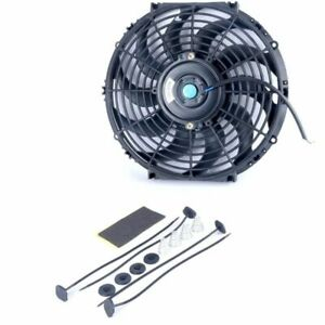 12v 80w 12inch Electric Cooling Radiator Slim Fan With Mounting Kit 10 Blades