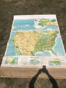 Denoyer Geppert Vintage Pull Down School Map Of United States S1crx 1964 Canvas