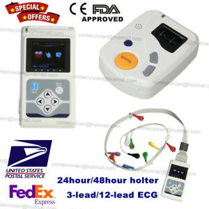 24h 48h Holter Ecg Monitor 3 lead 12 channel Recorde Software Analyzer Pacemaker