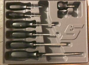 Vintage Snap On 7 Piece Screwdriver Set In New Plastic Tray