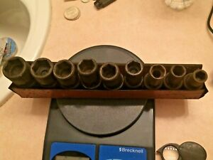 Vintage Mac Tools 1 2 Drive Swivel Impact Sockets Sae 9 Pcs vup Series Usa