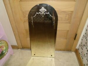 Antique Vintage Etched Beveled Wall Mirror Hanging