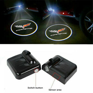 2x Wireless Led Courtesy Car Logo Door Ghost Shadow Projector Light For Corvette