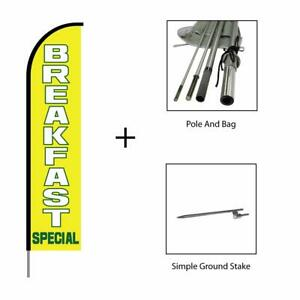 Breakfast Banner Sign Swooper Feather Flag Pole Kit Advertising Sign Yellow 15ft