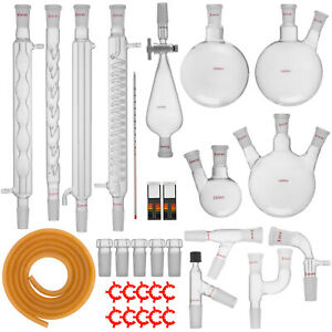 New Advanced Chemistry Lab Glassware Kit With 24 40 Glass Ground Joint 32pcs