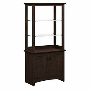 Tall Bookcase Display Storage Furniture Cabinet With Doors Glass Shelves Cherry