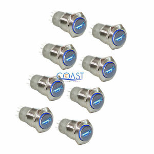 8x Durable 12v Led 16mm Momentary Blue Car Horn Push Button Toggle Light Switch