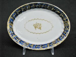 Antique Chinese Export Oval Porcelain Teapot Stand Blue With Gilt Details 1790