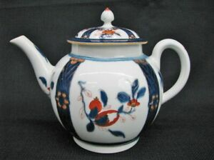 Worcester Late 18th Century Teapot With Imari Inspired Motif Near Mint C 1780