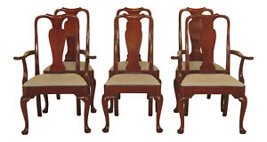 Lf47370ec Set Of 6 Kittinger Queen Anne Mahogany Dining Room Chairs
