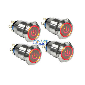 4x Durable 12v 19mm Car Push Latching Button Red Power Led Metal Switch