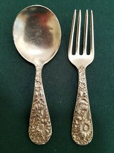 Vintage S Kirk Son Sterling Repousse Baby Fork And Spoon