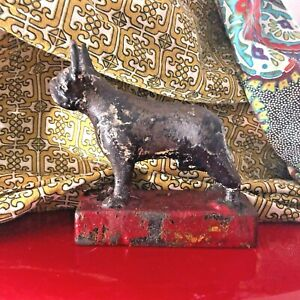 Antique French Bull Dog Boston Terrier Cast Iron Bookend Door Stop Heavy Mark B