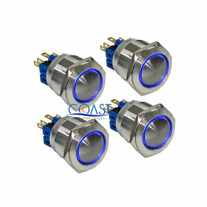 4x Durable 12v 25mm Car Domed Push Button Blue Angel Eyes Led Momentary Switch