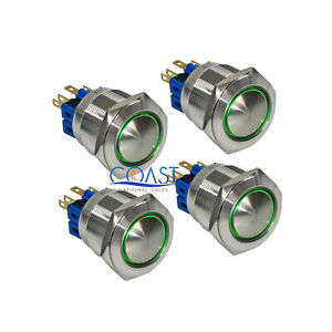 4x Durable 12v 25mm Car Domed Push Button Green Angel Eyes Led Momentary Switch