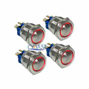 4x Durable 12v 25mm Car Domed Push Button Red Angel Eyes Led Momentary Switch