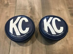 Vintage Kc Hilites 5 Headlight Fog Spot Light Covers Blue Pair Off Road Rare