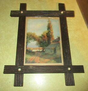 Vintage Wood Picture Frame With Porcelain Bead Accents