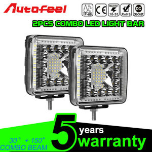 Square 4inch 231w Led Work Lights Pods Bull Bar Driving Truck Suv Boat Offroad