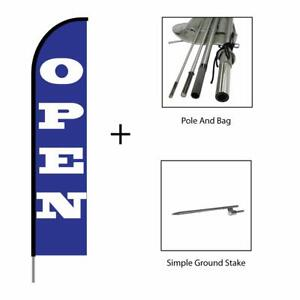 Open Flag Feather Swooper Banner Pole Kit Outdoor Advertising Sign Blue 15ft