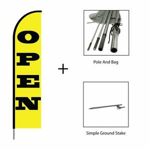 Open Flag Feather Swooper Banner Pole Kit Outdoor Advertising Sign Yellow 15ft