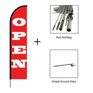 Open Flag Feather Swooper Banner Pole Kit Outdoor Advertising Sign Red 15ft