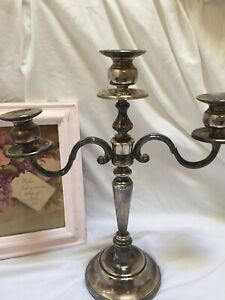 Vintage Silver Plate 3 Arm Candelabra Romantic Cottage Decor