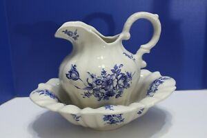 Blue And White Ironstone Wash Basin And Pitcher Staffordshire England Dnw
