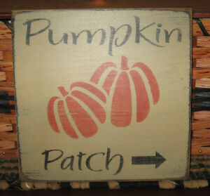 Primitive Country Pumpkin Patch Sm Sq Sign Fall Harvest