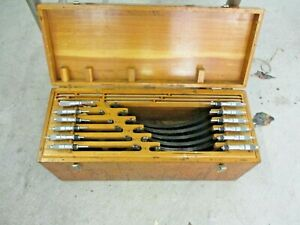 Scherr Tumico Outside Micrometer Set Of 12 In Wood Box 0 1 11 12 P 116a