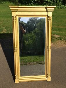 Antique Victorian Large Wall Hanging Mirror Wood Frame With Gold Gilt Paint