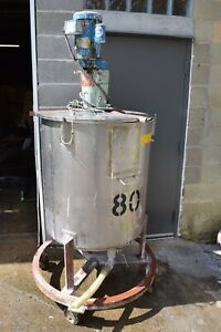 100 Gallon Stainless Steel Mixing Tank W Nettco Mixer Bottom Outlet On Casters