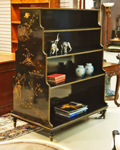 Chinoiserie Graduated Double Sided Hand Painted Black Book Case Shelf Devider