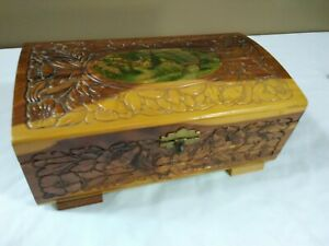 Vintage 1940 S Hand Carved Cedar Wooden Chest Jewelry Box Lithograph Rose Mirror