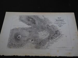 Antique Map Map Of Part Of The Island Of Hawaii Sandwich Islands Showing