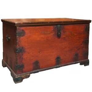 Antique Anglo Indian Chippendale Painted Teak Blanket Chest 19th Century