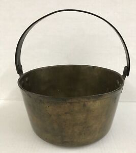 Antique Brass Cauldron Jam Cooking Pot With Riveted Steel Heavy Handle