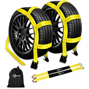 2pcs Axle Straps 2pcs Tow Dolly Straps With Flat Hooks For Trailer Car Transport
