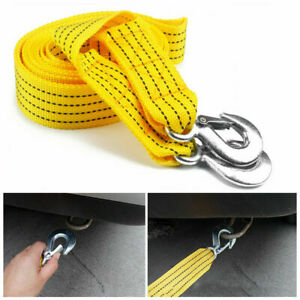 3 Tons 10ft Heavy Duty Tow Strap With 2 Hooks Towing Rope For Emergency Recovery