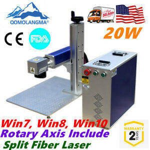 Usa 20w Split Fiber Laser Marking Machine Raycus Laser Rotation Axis With Fda
