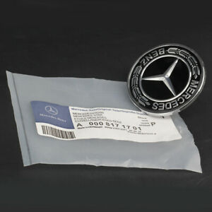 Mercedes Benz Hood Black Flat Laurel Wreath Badge Emblem 0008171701