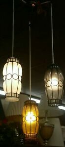 Mid Century 3 Hanging Accent Glass Tubes Ceiling Lamp