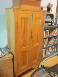 Antique Country Pine Wardrobe Hutch Linen Closet Armoire